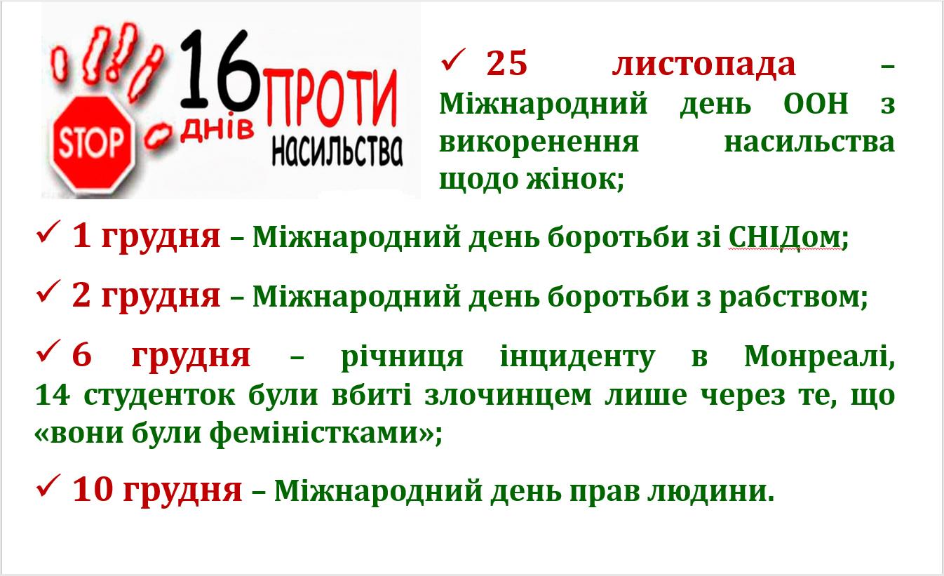 Розпочалася щорічна акція «16 днів проти насильства»